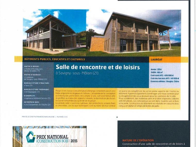 Laureat 2015 Prix national de la Construction Bois 2015