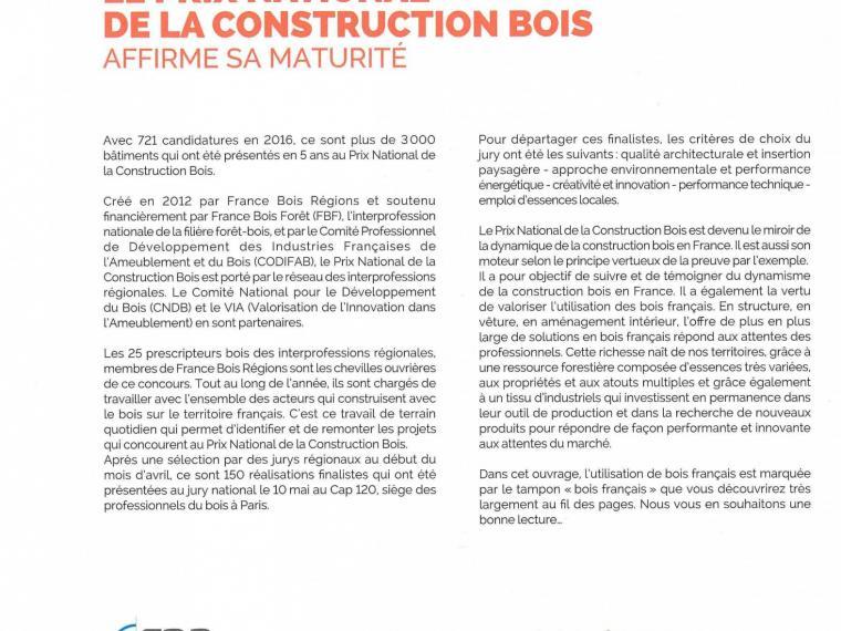 Definition du Prix National bois de la construction bois
